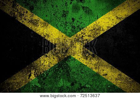 Grunge Flag Of Jamaica With Capital In Kingston