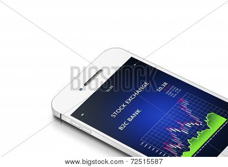 Mobile Phone With Stock Exchange Chart Isolated Over White