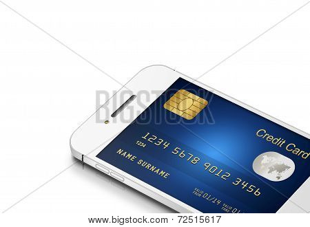 Credit Card With Mobile Phone Isolated On White