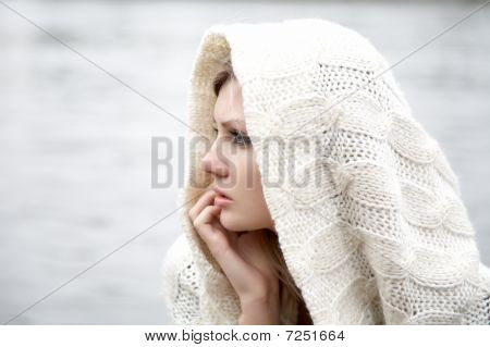 The Thoughtful Girl In  Knitted Dress