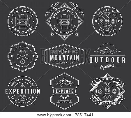 Mountain Exploration White On Black