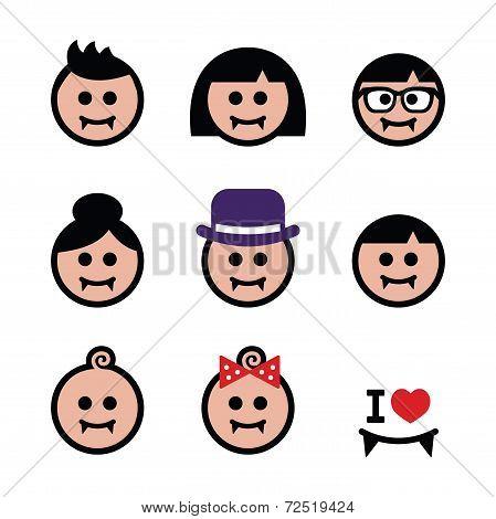 Vampires - man, woman, baby faces Halloween icons set