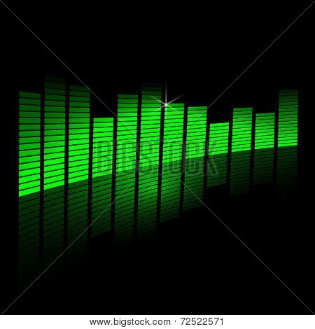 Vector illustration of music equalizer beam on black background