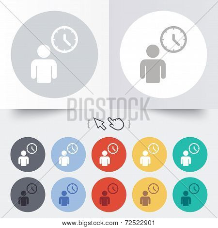 Person waiting sign icon. Time symbol.