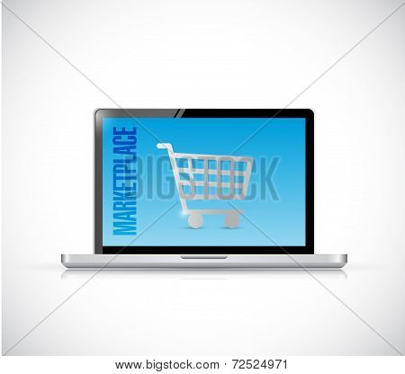 Marketplace Laptop Sign Illustration Design