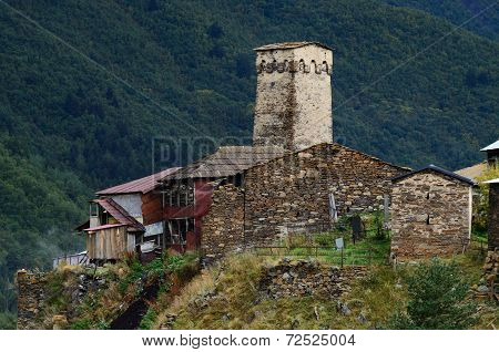 View Of Ancient Murqmeli Village With Generic Fortified Tower,settlement Ushguli,svaneti, Georgia