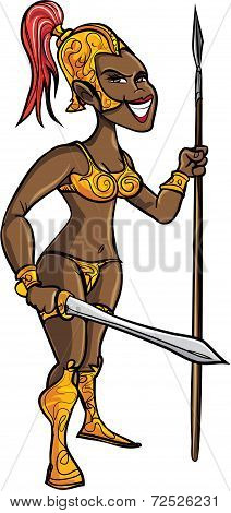 Cartoon black warrior woman with a sword