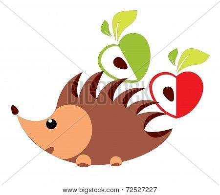 Hedgehog with apple - vector illustration