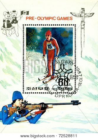 Vintage  Postage Stamp. Olympic Games In Calgary. 6.