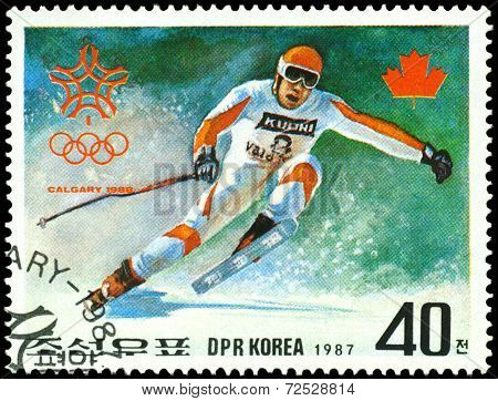 Vintage  Postage Stamp. Olympic Games In Calgary. 7.