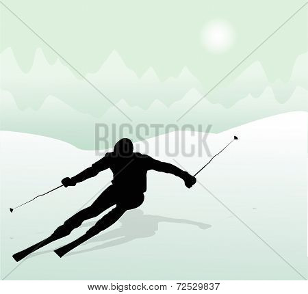 silhouette of skier in the mountains