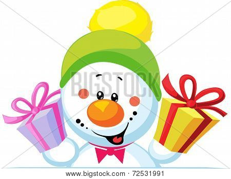Snowman Holding Gift Peeps Out Through The Blank Background Isolated On White