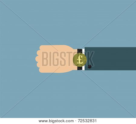 Illustration of Businessman wearing over sized watch with currency signs -  British