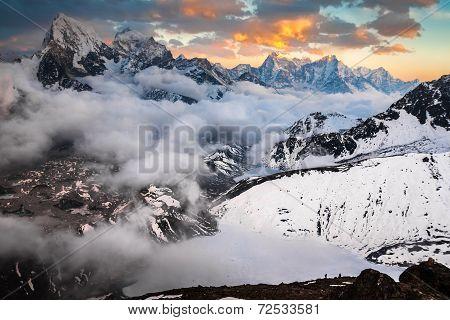 Beautiful Mountain Landscape At Sunset. Himalayas. Nepal
