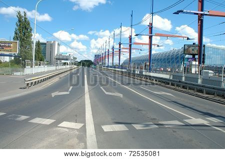 Street On Railway Station Bridge In Poznan, Poland
