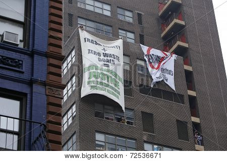 Banners hung in solidarity