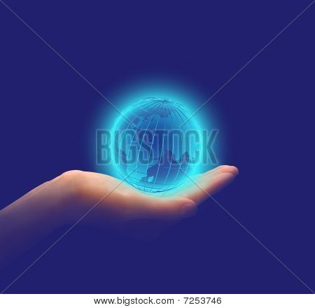 Glowing Earth In Hands