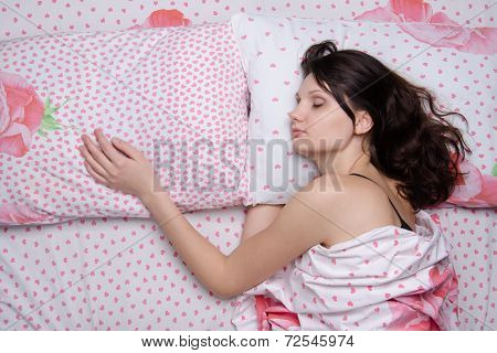 Girl Sleeping Alone In Bed