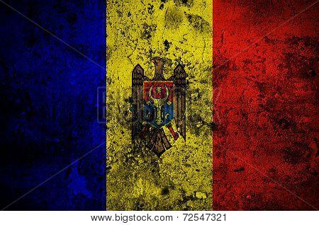Grunge Flag Of Moldova With Capital In Chisinau