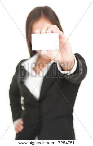 Businesswoman Holding Business Card