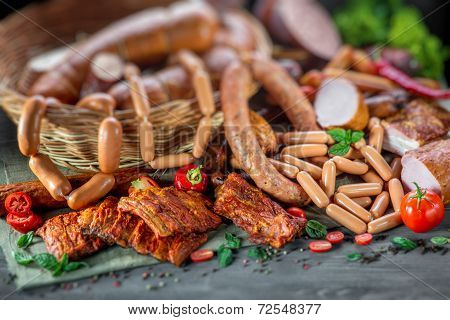 Assortment of meat and sausages