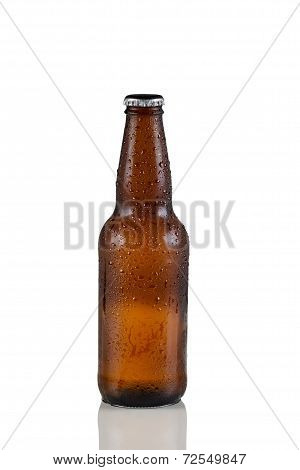 Unopened Cold Beer Bottle On White With Reflection