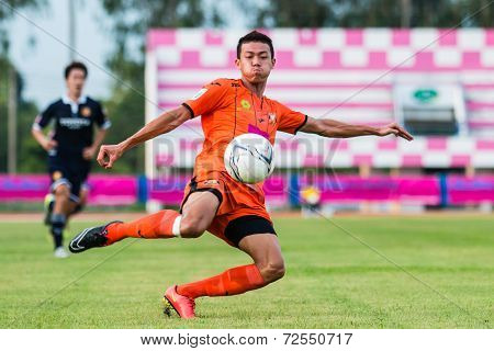 Sisaket Thailand-september 21: Santirat Viang-in Of Sisaket Fc. In Action During Friendly Match Betw