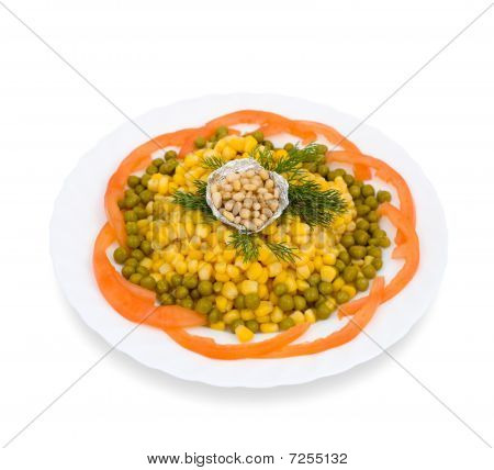 Corn, Green Peas And Pine Nuts, Clipping Path.