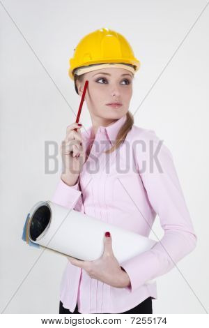 Businesswoman In Helmet Holding Documents