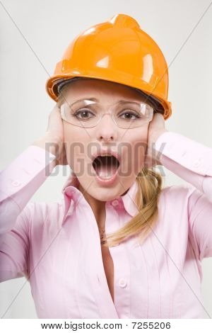 Screaming Businesswoman In Helmet