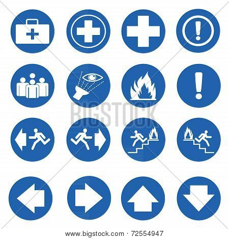 Blue Circle Safety Sign. Vector