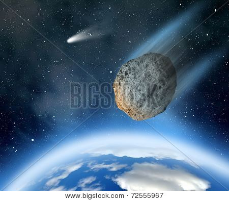 Asteroid falling on Earth
