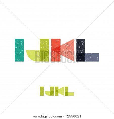 I J K L - Grunge Flat Alphabet Set