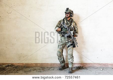 American Soldier Guarding During Military Operation
