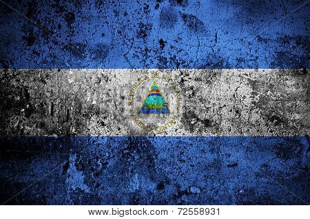 Grunge Flag Of Nicaragua With Capital In Managua