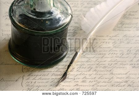 Quill Pen and Inkwell