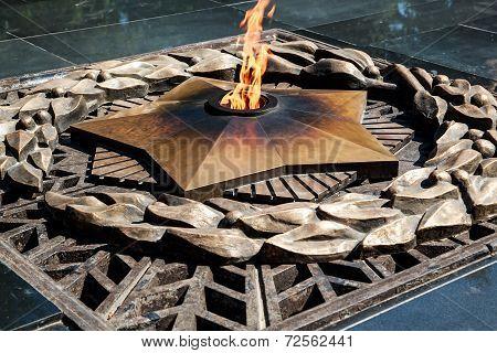 Eternal fire memorial in Almaty