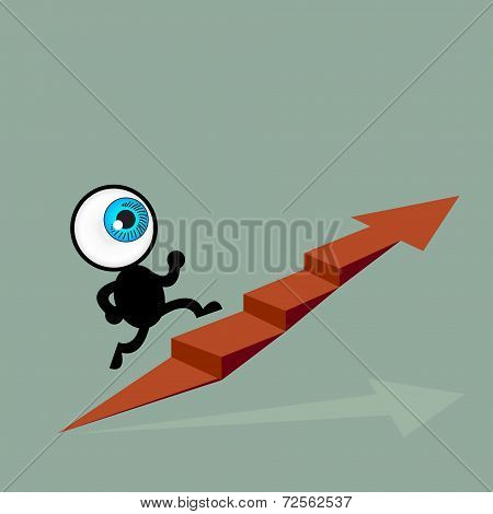 The Blue Eye Running To Top Of Graph Path Arrow