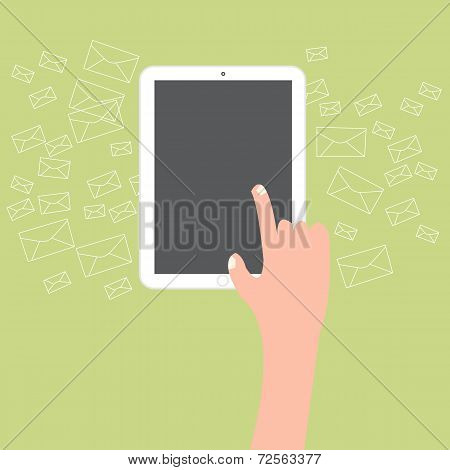 Finger Touch Tablet With Email Icon Background