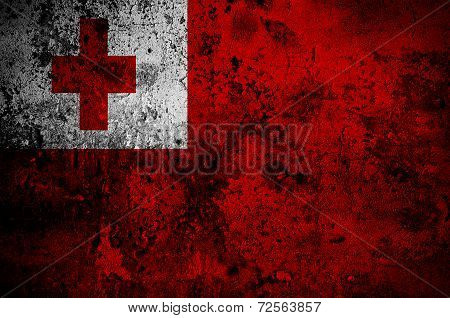 Grunge Flag Of Tonga With Capital In Nuku'alofa