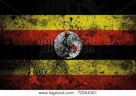 Grunge Flag Of Uganda With Capital In Kampala