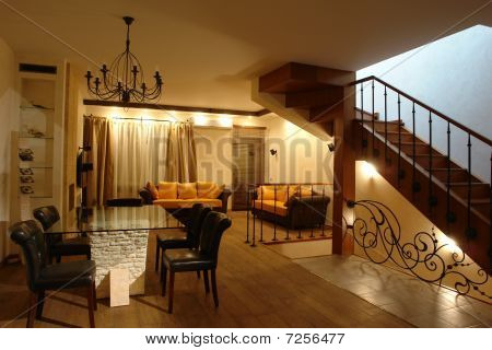 interior of a living room with stair
