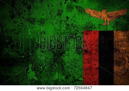 Grunge Flag Of Zambia With Capital In Lusaka