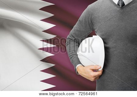 Architect With Flag On Background  - Qatar