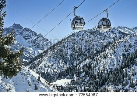 Ski Lifts In  Winter
