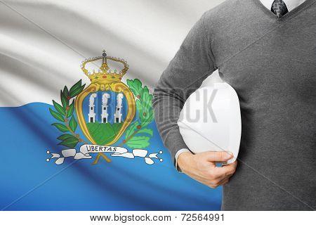Architect With Flag On Background  - San Marino