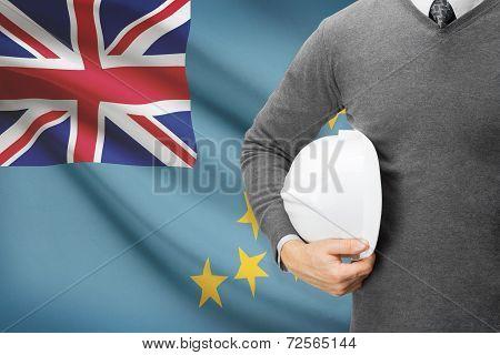 Architect With Flag On Background  - Tuvalu