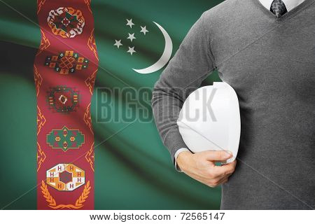 Architect With Flag On Background  - Turkmenistan
