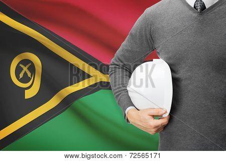Architect With Flag On Background  - Vanuatu