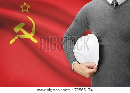 Architect With Flag On Background  - Union Of Soviet Socialist Republics